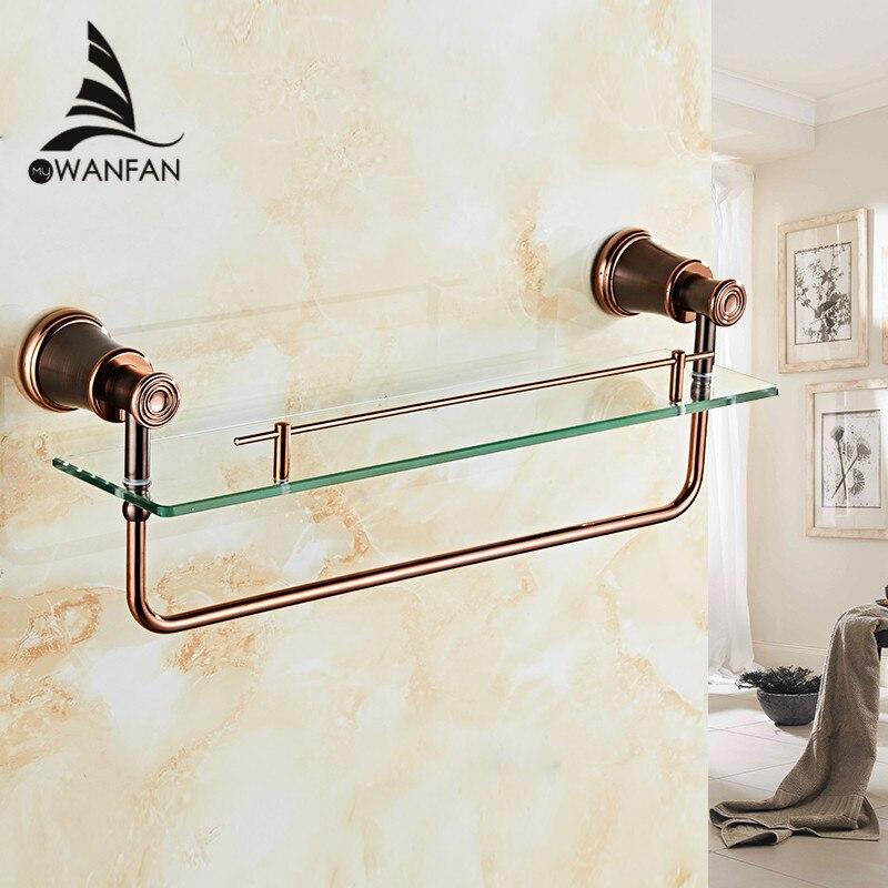 Bathroom Shelves Brass ORB Tempered Glass Shelf Towel Bar Hanger Cosmetic Racks Bathroom Accessories Wall Holder