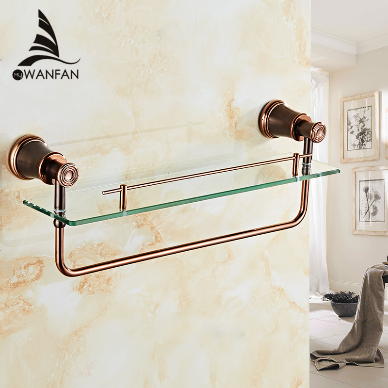 Bathroom Shelves Brass ORB Tempered Glass Shelf Towel Bar Hanger Cosmetic Racks Bathroom Accessories Wall Holder Shelves 5513 bathroom shelves orb finish wall shelf in the bathroom brass towel holder towel tack bathroom accessories towel bars 5512