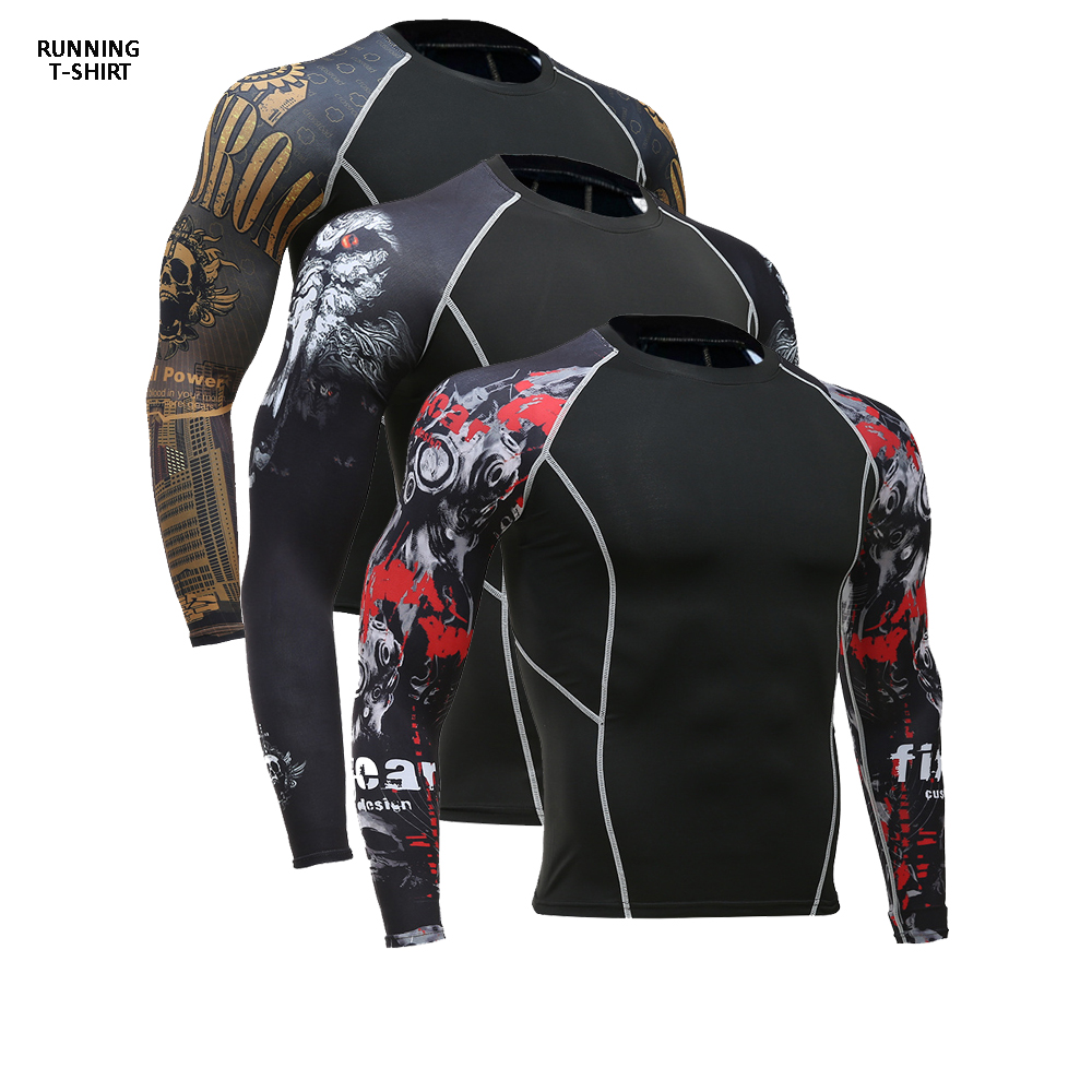3D Print T-Shirt Men's Gym Running Shirt Compression Tights Breathable Long Sleeve Sports Rashguard Jersey Free Shipping