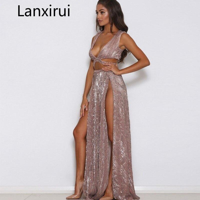 2018 Sexy Women Maxi Dress Women Side Split Backless Beach Wedding Sequined Evening Party Dresses Summer Vestidos