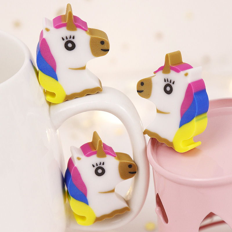 4pcs/lot Cute Cartoon Creative Unicorn Pencil Rubber Eraser Kawaii Mini Animal For School Stationery Kids Prize Toys Gift