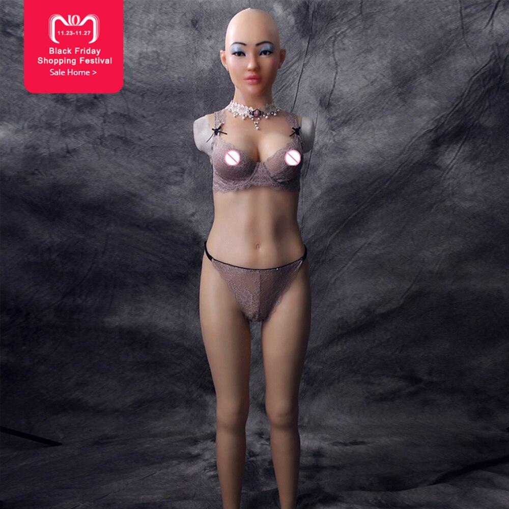 Eyung Selina plein body avec déesse visage pour cosplay Zentai costume faux seins pour travesti drag queen silicion masque féminin