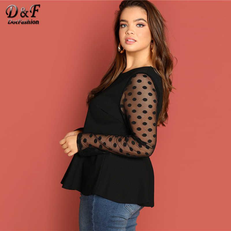 Dotfashion/большие размеры; женские топы в черный горошек с сетчатым рукавом и баской; элегантные длинные рукава с оборками; подол одежды; Весенняя рубашка