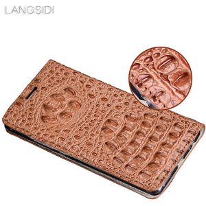 Image 4 - Wangcangli funda de teléfono de cuero genuino con tapa textura trasera de cocodrilo para Xiaomi Redmi Note3 funda de teléfono hecha a mano