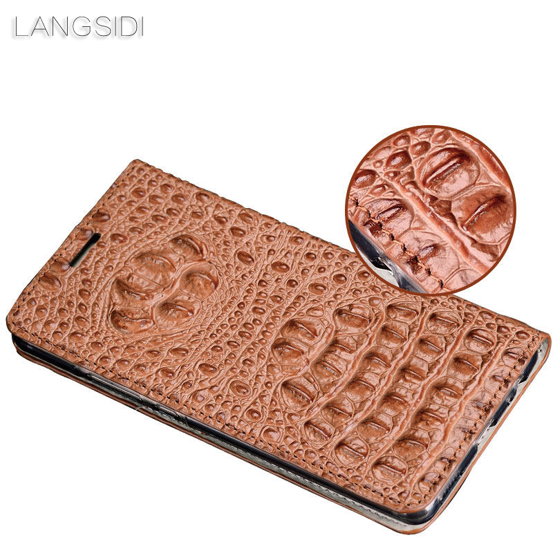 Image 4 - wangcangli genuine leather flip phone case Crocodile back texture For Xiaomi Redmi Note3 All handmade phone case-in Flip Cases from Cellphones & Telecommunications