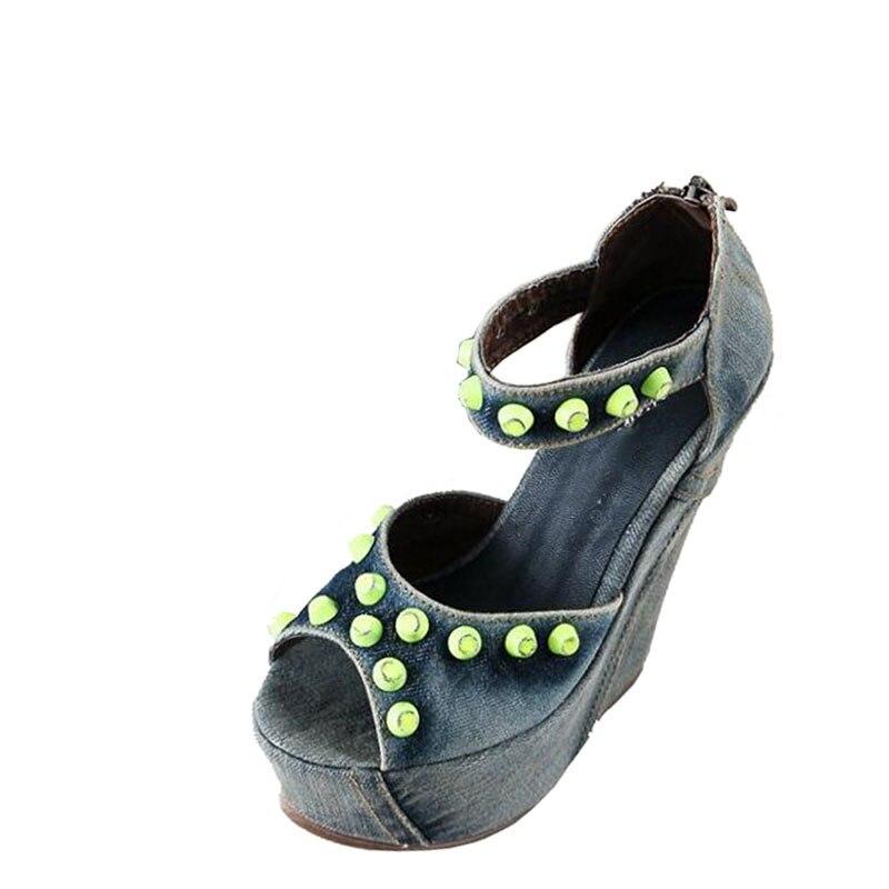 2017 새로운 샌들 데님 워시 물 금속 장식 울트라 높은 웨지 방수 캔버스 신발-에서하이힐부터 신발 의  그룹 1