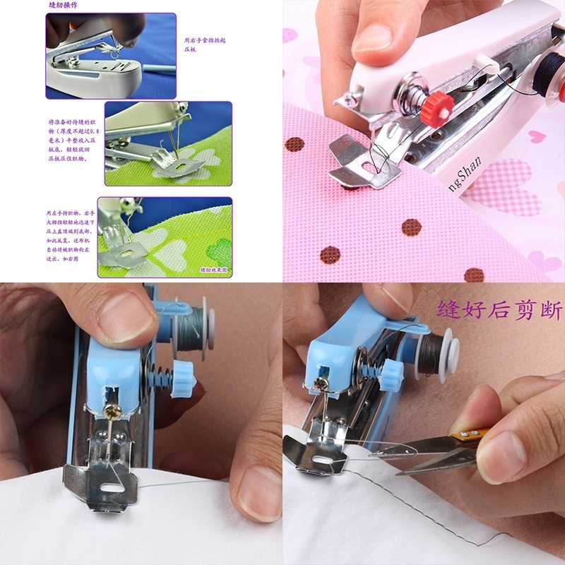Portable Electrical Mini Sewing Machine DIY Handheld Needlework Cordless Manual Clothes Sewing Machines Accessories For Travel in Sewing Machines from Home Garden