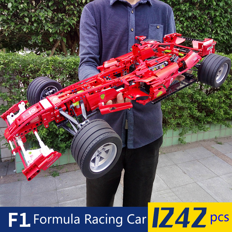 1242pcs Formula Racing Car 1:8 Model Building Blocks Sets Educational DIY Bricks Toys Compatible Technic 8674