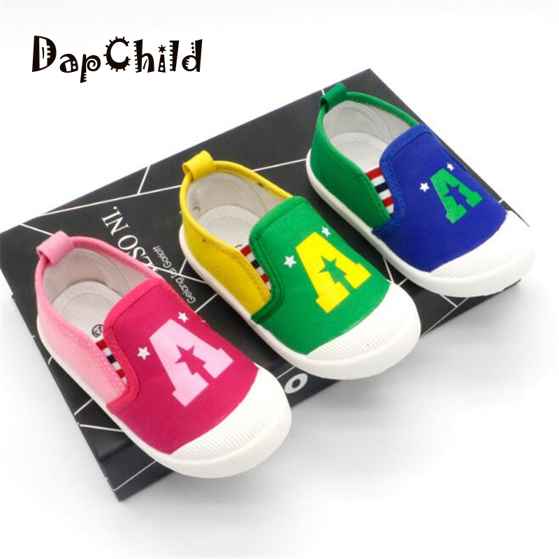 DapChild Girls Shoes School Kids Shoes Boys Spring Casual Footwear Children Canvas Shoes Captain A Pattern Breathable Baby Sneak