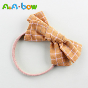 1PCS Plaid Bow Hair Band Baby's Nylon Headband Baby`s Girl Elastic Headband Cute Tiara Hair Accessories HairBand 5pcs lot cute plaid hair bow elastic hairband nylon headband for girls baby accessories stretch headwear baby hair accessories
