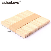 SILIKOLOVE 50Pcs/Lot Natural Wood Ice Cream Sticks Wooden Pop Popsicle Sticks DIY Ice Cream Tools