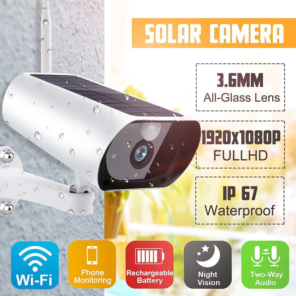 Caméra solaire IP 1080P 2MP caméras de Surveillance extérieures avec Vision nocturne PIR CCTV WiFi Mini caméra Webcam sécurité à domicile