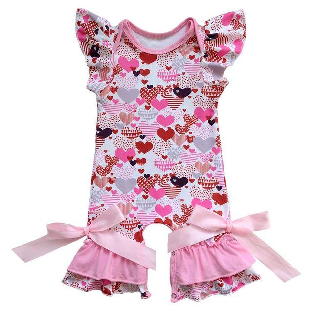 091346301fe milk silk spring Valentine s Day girls jumpsuit infant toddlers clothing baby  romper easter egg flutter sleeve capris leg romper