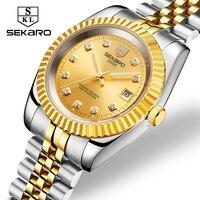 Sekaro Автоматическая Золото Алмаз Для мужчин механические часы Роскошные брендовые Нержавеющаясталь Для мужчин s Бизнес наручные часы relojes