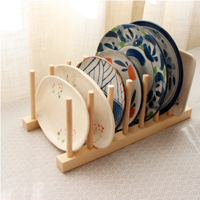 Wood Kitchen Storage Rack Kitchen Utensils Dish Rack Dinner Plates Holder  DIY Holder Kitchen Accessories Kitchen