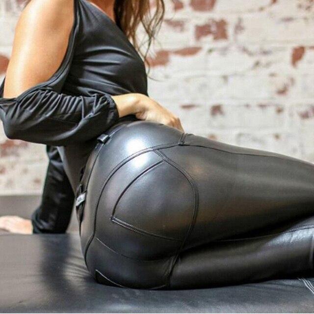 Plus Size Winter Leggings Women High Waist Stretch Workout Fitness Push Up Skinny Black PU Leather Leggings Pants Streetwear