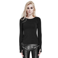 Steampunk Vintage Gothic Style Long Sleeve Black Slim Fit Shirts Spring Pure Color Casual O Neck