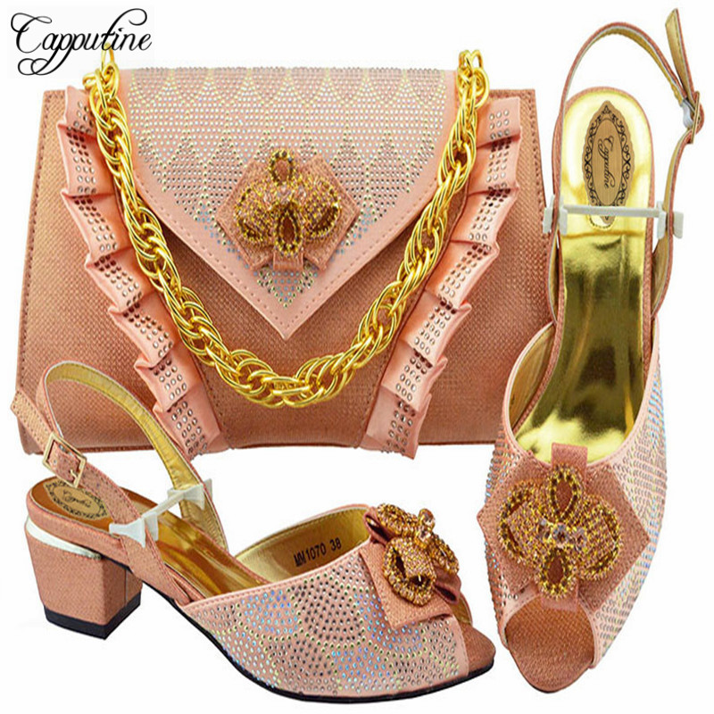 Capputine Latest Design 2018 Wedding Italian Peach Shoes And Matching Bag Set Wedding And Party African Shoes With Bag Set capputine african shoes and bag matching set with crystal hot selling women italian shoes and bag set for wedding dress bl735c