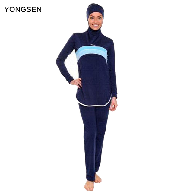 14624034b3 YONGSEN Islamic Swim Wear Muslim Swimwear Full Cover Hijab Swimming Modest  Swimsuits Plus Size Women Burkinis Beachwear