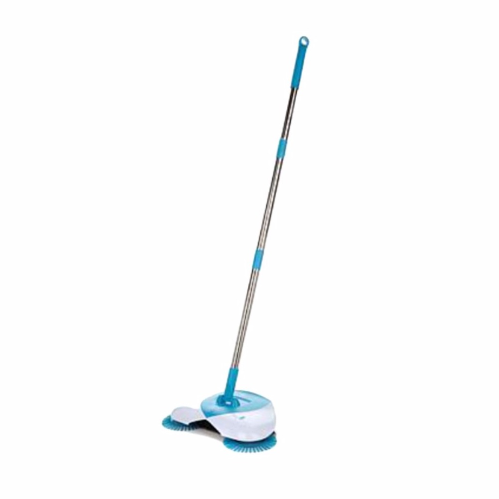 new spin hand push broom sweeper household dust collector floor surface cleaning mop adjustable convenient - Push Broom