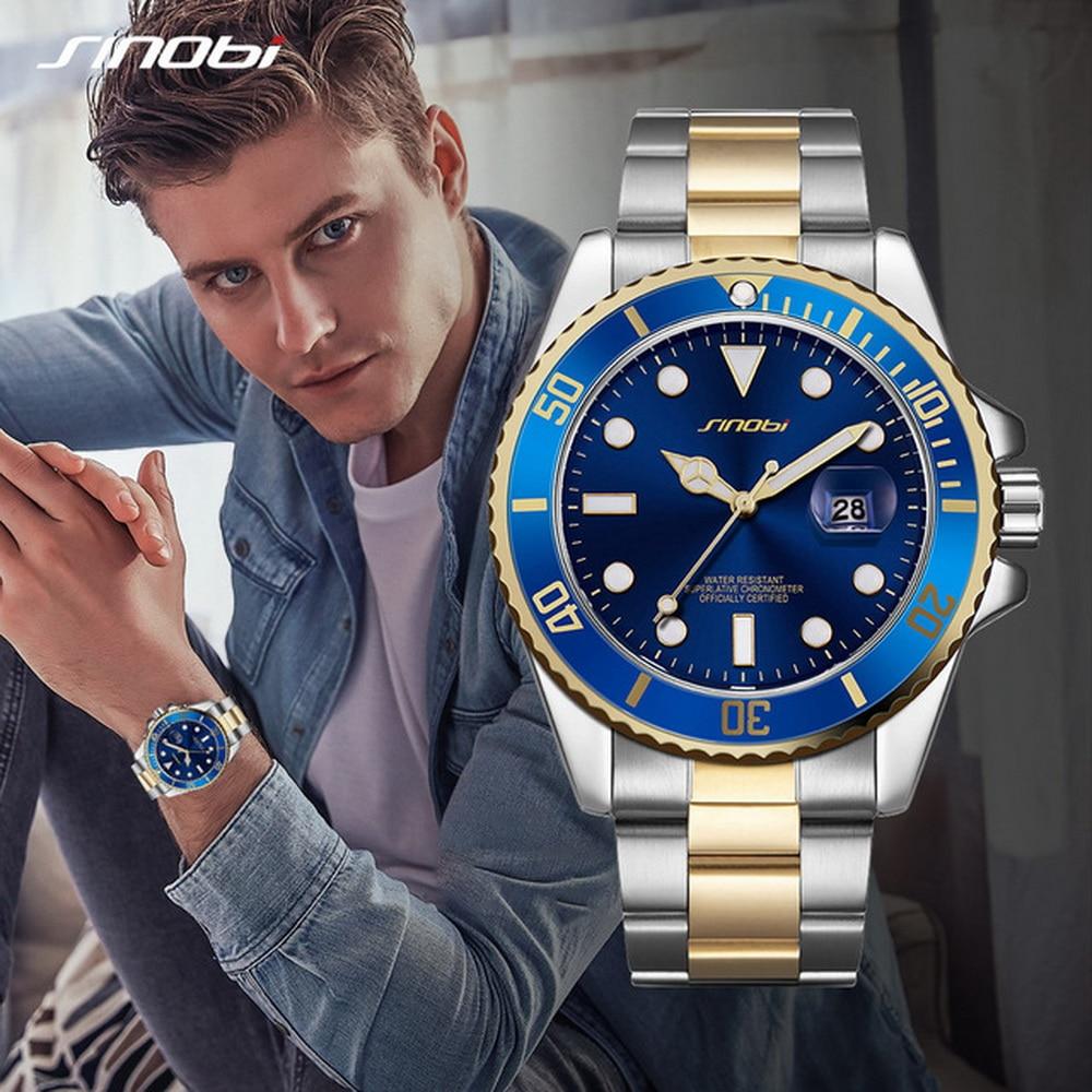 SINOBI Mens Fashion Casual Watches Top Geneve Band Mans Sports Quartz Watch Golden Clock Relogio Masculino Montre Rolexable 2019