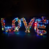 Luxury Rechargeable Luminous Light Up LOVE Shaped LED Cocktail Cup holder Wine Glass Cup Holder for Wedding Party Decorations