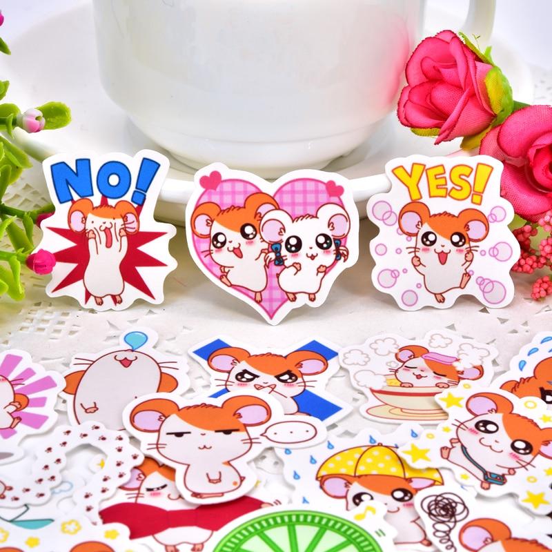 40pcs Cute Little Hamster Hamtaro Sticker Self-made Scrapbooking Decorative Sticker Decoration /waterproof Paper Stickers