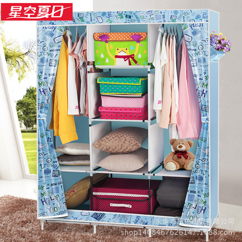 Oxford cloth wardrobe simple wardrobe Totally enclosed high-capacity folded cloth wardrobe simple fashion moistureproof sealing thick oxford fabric cloth wardrobe rustproof steel pipe closet 133d