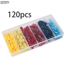 OOTDTY 120Pcs Terminal Boxed Set 6 Types Electric Wire Connectoe Assorted Insulated Clamp Cold-Press T-Tap Spade Kit