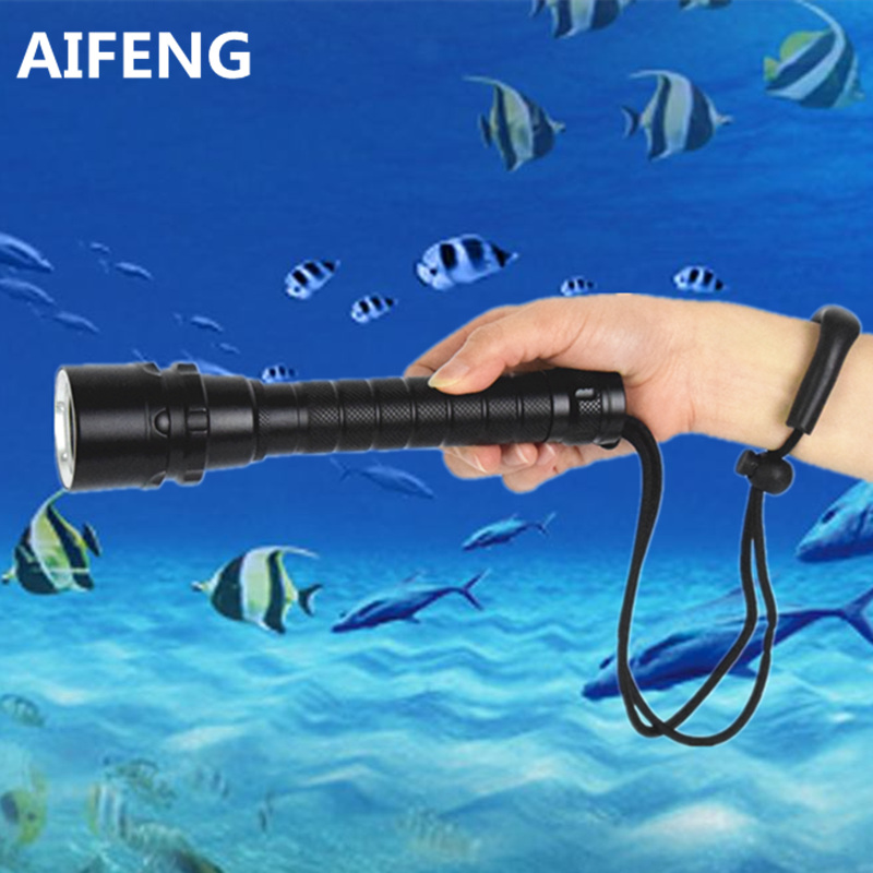 AIFENG Professional scuba diving flashlight torch tactical powerful waterproof underwater LED diving light flashlight 18650