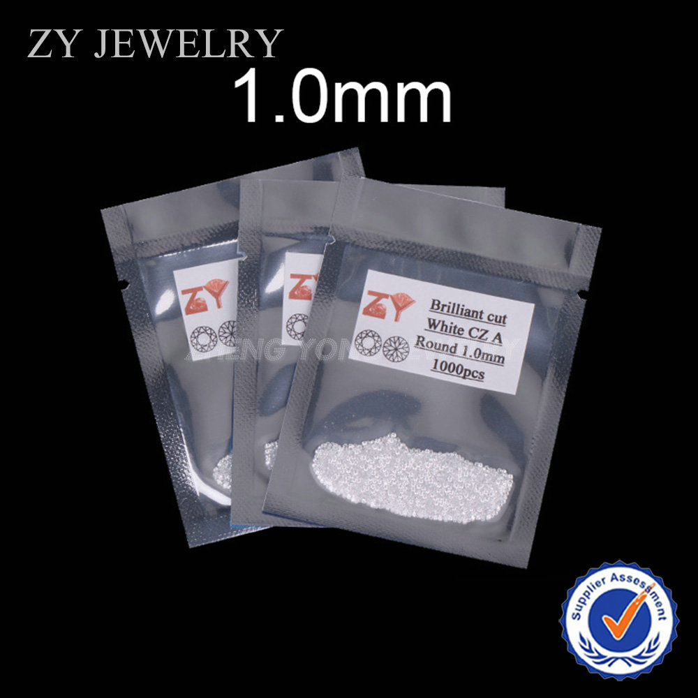 1.0mm-2.5mm 3A Quality Round Shape Brilliant Cut White Loose Cubic Zircon Beads In Jewelry