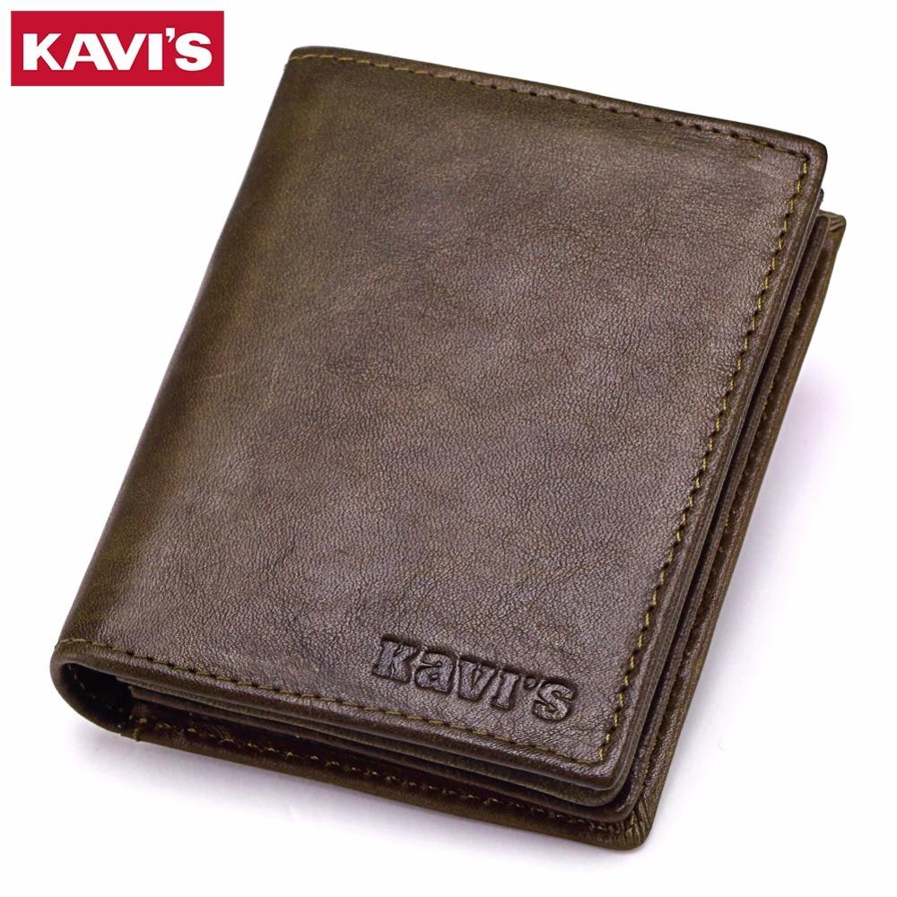 KAVIS New Genuine Leather Men Wallets Vintage Coin Purse Luxury Brand Bifold PORTFOLIO Rfid Fashion Magic Vallet Male Cuzdan