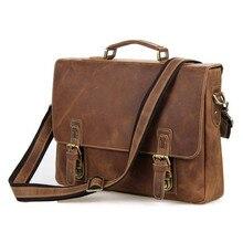 Vintage Cowhide Men s Genuine Leather Briefcase Male Business Handbag Crossbody Messenger Bag Fit 15 Inch