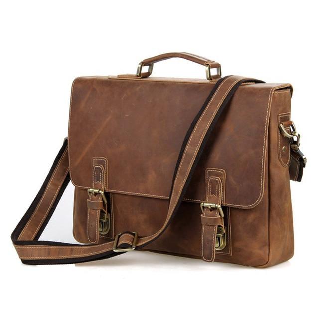 3254282656c8 US $93.72 18% OFF|Vintage Cowhide Men's Genuine Leather Briefcase Male  Business Handbag Crossbody Messenger Bag Fit 15 Inch Laptop PR587229B-in ...