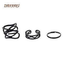 Korean Style High Quality Finger Joints Three Piece Ring Set Fashion Black Paint Hollow Ring Three Ring(China)