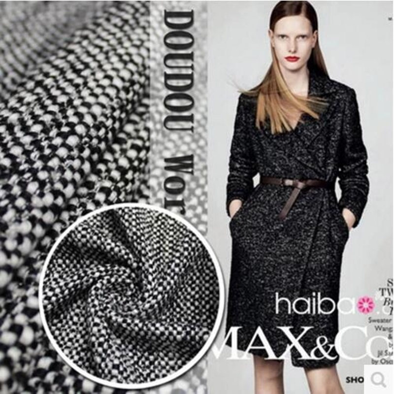 Milan flavor ch * nel wool woven woolen fabrics in black and white color suit coat fabrics 580grams per metre