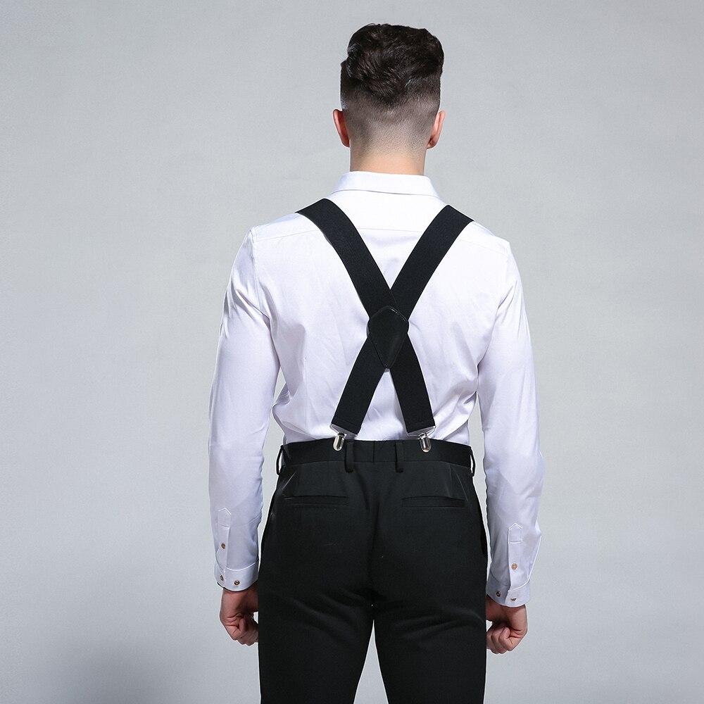 """2/"""" 50mm Wide Mens X-Back X Shape Heavy Duty Trousers Brace Suspenders Black Red"""