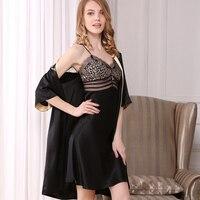 Женщины шелковый халат и платье комплекты ЧЕРНЫЕ пикантные половины рукав халата кружева лоскутное ночь пижамы для женщин модный бренд сна