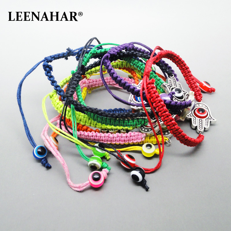 15PCS Multi colors Handmade String braided Hamsa Bracelets kabbalah Lucky Eye charm jewelry Wholesale Judaical gifts for success