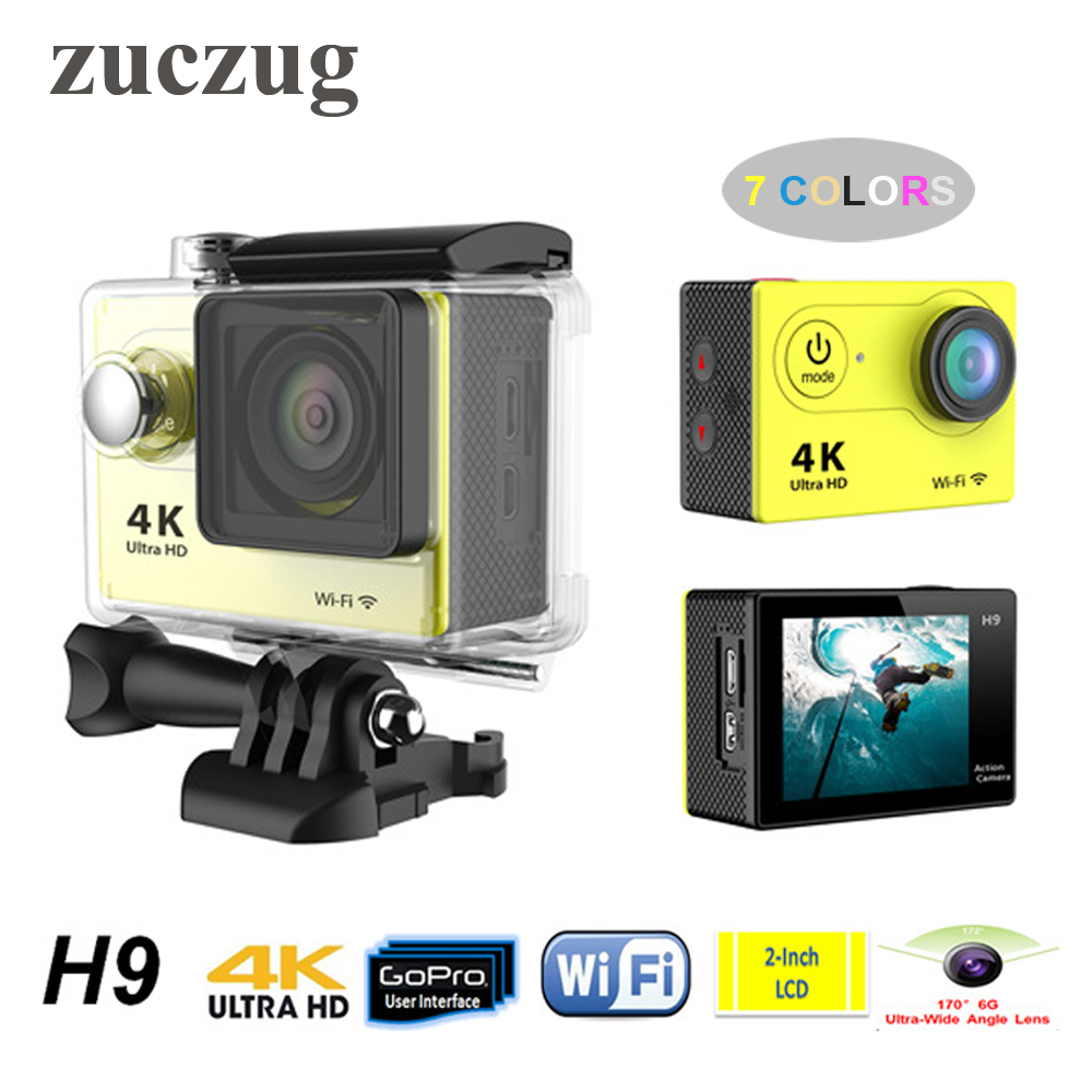ZUCZUG H9 Super HD 4K WiFi Sport DV Action Camera Camcorder 30M Diving Waterproof DV Helmet Video Camcorder Mini DVR oem hd 720p dv 30m 120 2 a7