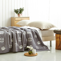 3 Layers Gauze Fashion Print Towel Blankets Twin Queen Size Shower Blanket Sofa Throws
