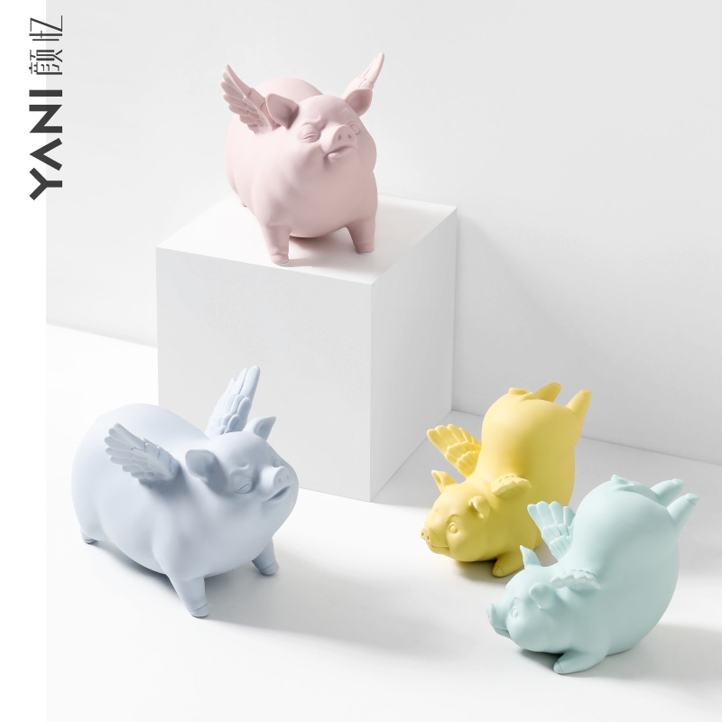 Creative Cute Ceramic Flying Pig with Wings Ornaments Lucky Pig Figurine Miniature Garden Home Room Desk Decoration Accessories