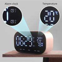 Mni Bluetooth Speaker Support Temperature LCD Display FM Radio TF Alarm Clock Date Display 3D Stereo Music Surround