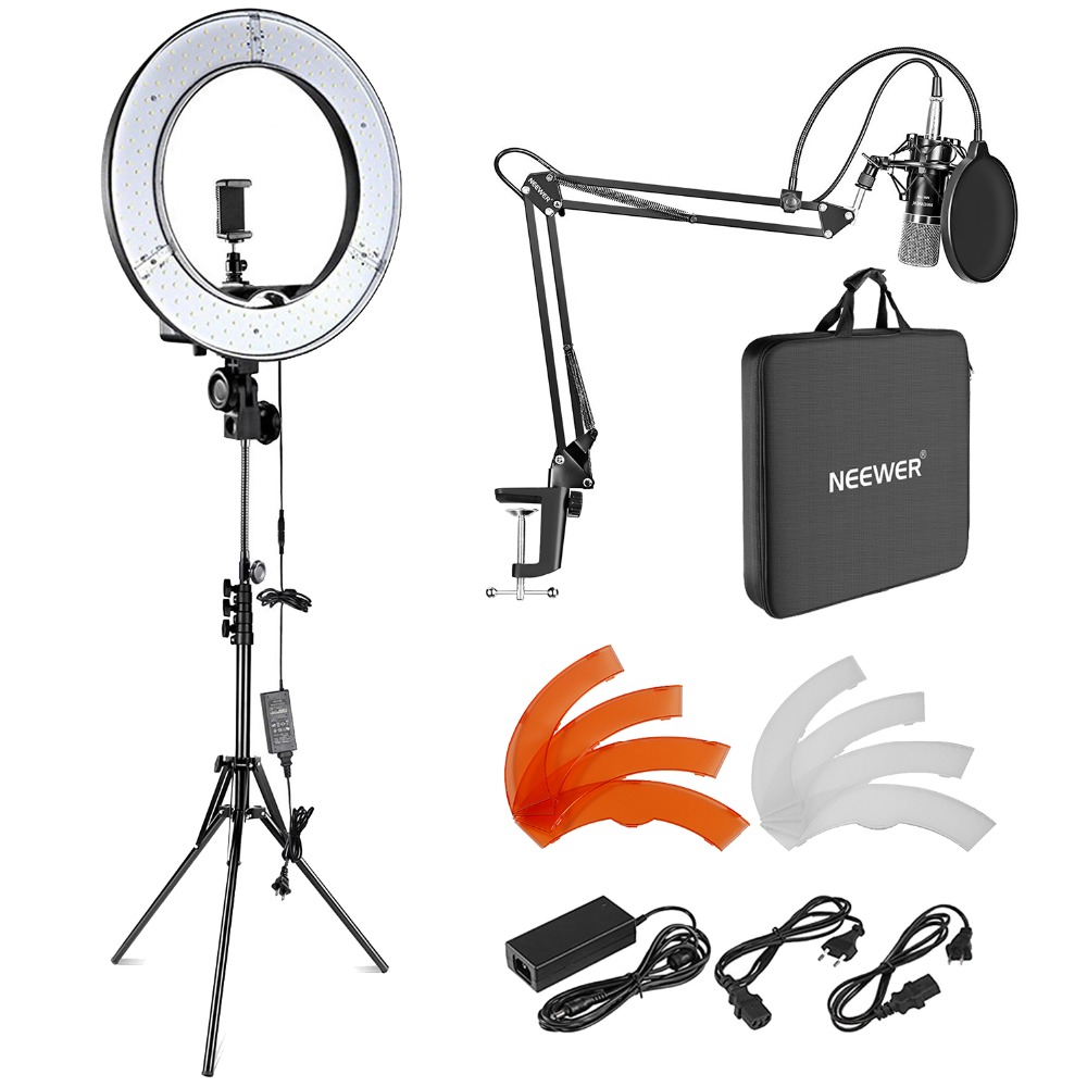 Neewer 18-inch Outer LED Ring Light and Condenser Microphone Kit for Live Stream YouTube Video Photography (US/EU Plug)Neewer 18-inch Outer LED Ring Light and Condenser Microphone Kit for Live Stream YouTube Video Photography (US/EU Plug)