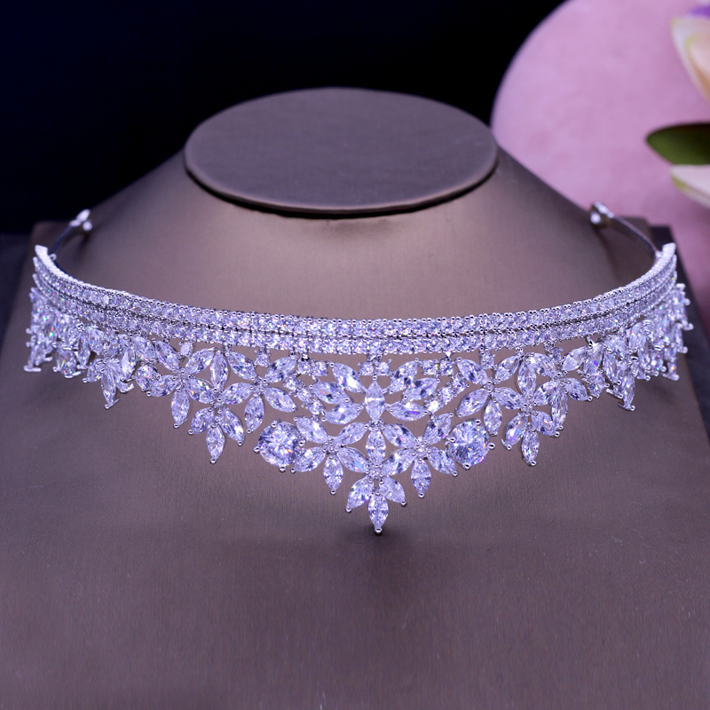 Elegant Cubic Zirconia Tiaras Headpiece Hair Jewelry Bride Accessories Headband White Gold Color Crown Party Show