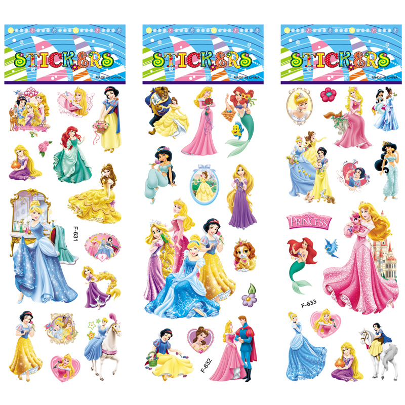 6 Sheets/set Cartoon Snow White Princess Stickers Scrapbooking For Kids Rooms Decor Diary Notebook Decoration Toy 3D Sticker