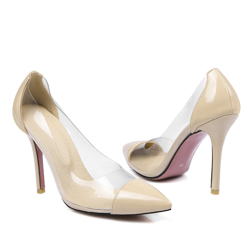 10cm Thin Spike High Heels Women Pumps Pointed Toe Transparent Patent Leather Office Dress Wedding Slip on Summer Clear Stiletto in Women 39 s Pumps from Shoes