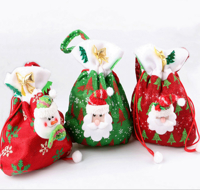 creative santa claus snowman 3 styles candy gift bags for kids home party xmas christmas tree - Santa Claus For Kids