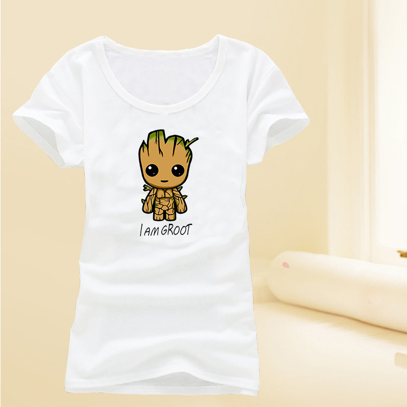 Summer Boys Girls I am Grootted Cartoon Print White T-shirt Kids Guardians of the Galaxy Sports Tees Childrens Casual Clothing