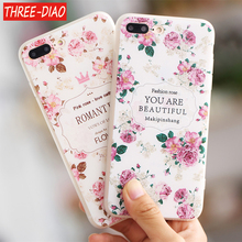 THREE-DIAO Flower Pattern Relief Soft TPU Case For iphone 5 5s SE 6 6S 6Plus 7 7plus 8 8plus Phone Cases Cartoon Capa Back Cover